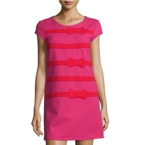 Julie Brown Allora Bow Stripe Dress Pink Red Small